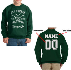 Customize - New Slytherin KEEPER Quidditch Team Kid / Youth Crewneck Sweatshirt Forest