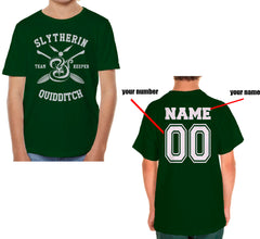 Customize - New Slytherin KEEPER Quidditch Team Kid / Youth T-shirt tee