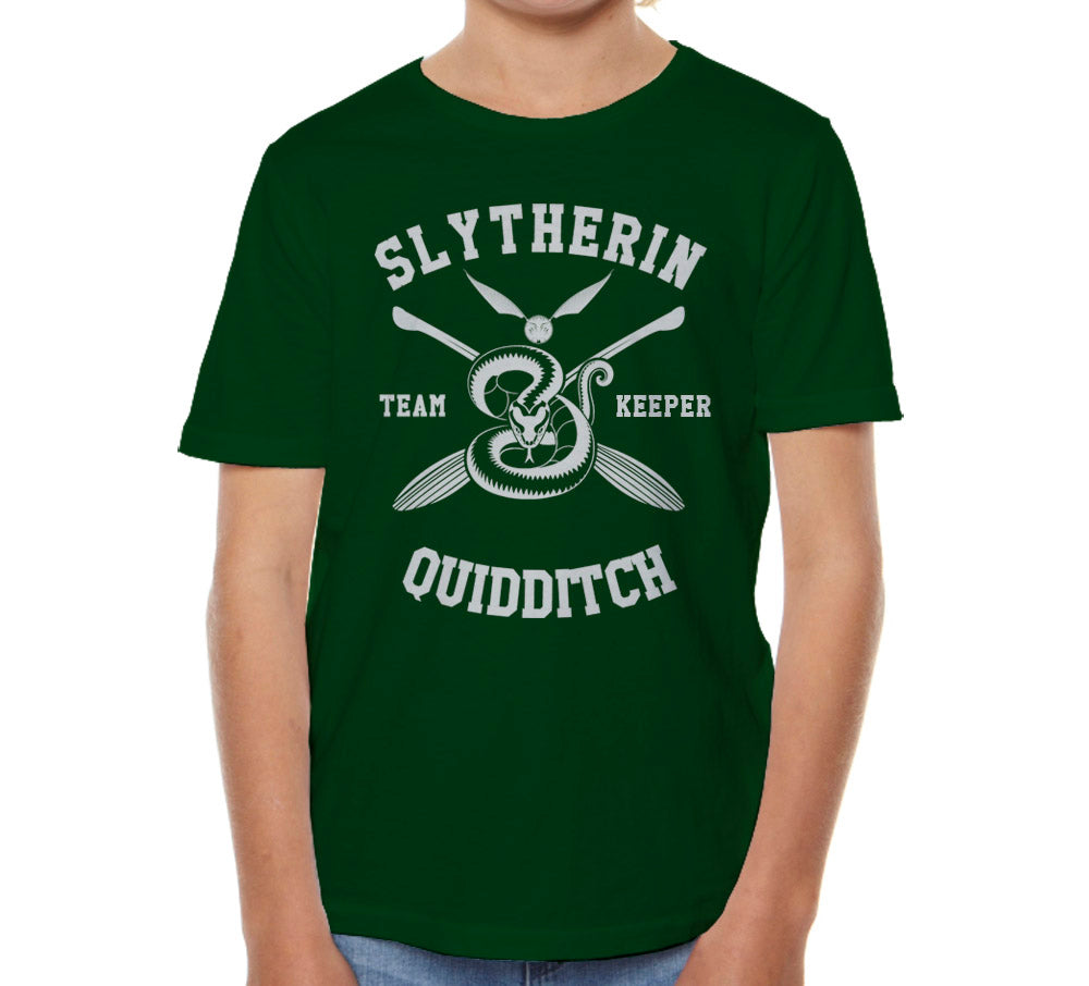 Slytherin KEEPER Quidditch Team Kid / Youth T-shirt tee Forest PA New