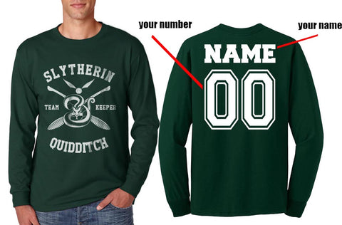 Customized - New Slytherin KEEPER Quidditch Team Long Sleeve T-shirt for Men