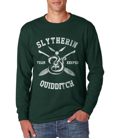 Slytherin KEEPER Quidditch Team Long Sleeve T-shirt for Men PA New