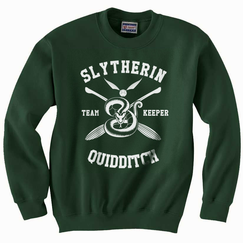 Slytherin KEEPER Quidditch Team Unisex Crewneck Sweatshirt PA New Adult
