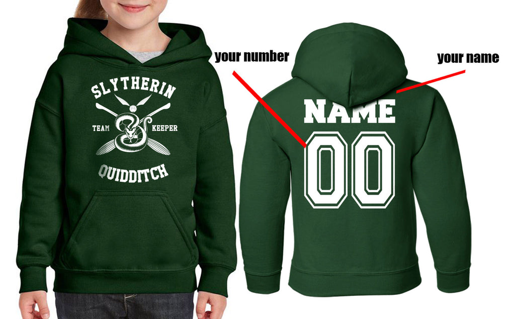 Customize - New Slytherin KEEPER Quidditch Yellow Team Kid / Youth Hoodie Forest Green