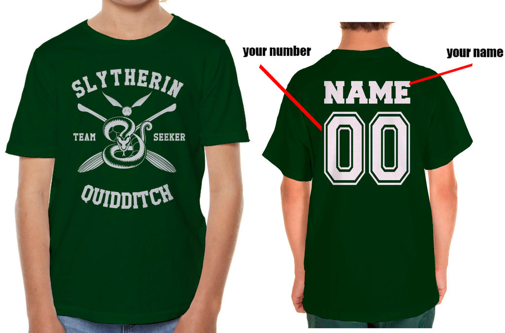 Customize - New Slytherin SEEKER Quidditch Team Kid / Youth T-shirt tee