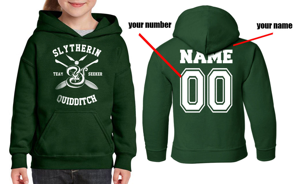 Customize - New Slytherin SEEKER Quidditch Yellow Team Kid / Youth Hoodie Forest Green