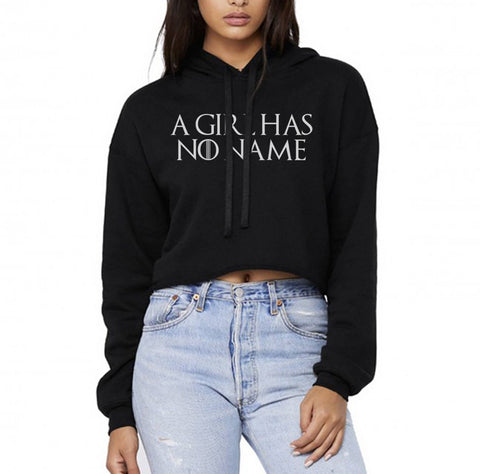 A Girl Has No Name Font Cropped Hoodie