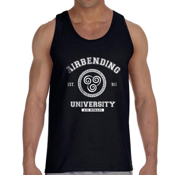 Airbending University White Ink print Avatar Air Bender Men Tank Top