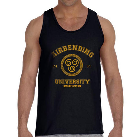 Airbending University Yellow Ink print Avatar Air Bender Men Tank Top