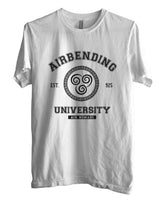 Airbending University black ink print Avatar Air Bender Men T-shirt