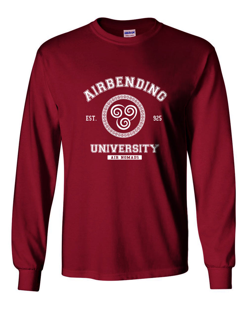Airbending University White Ink print Avatar Air bender Long Sleeve T-shirt for Men - Meh. Geek