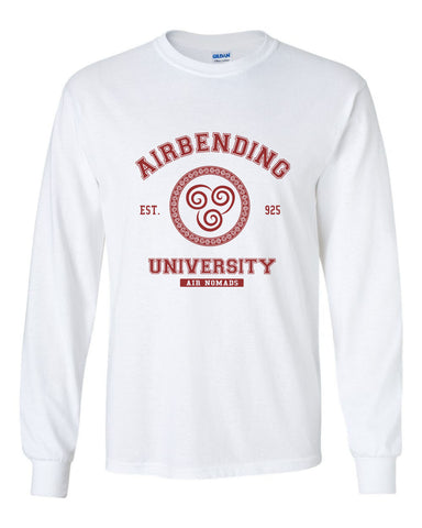 Airbending University Maroon Ink print Avatar Air bender Long Sleeve T-shirt for Men - Meh. Geek
