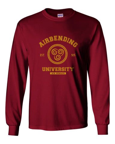 Airbending University Yellow Ink print Avatar Air bender Long Sleeve T-shirt for Men - Meh. Geek