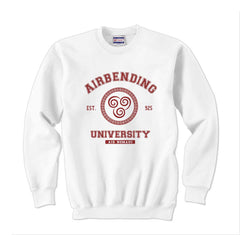Airbending University Maroon Ink print Avatar Air bender Unisex Crewneck Sweatshirt - Meh. Geek
