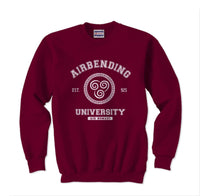 Airbending University White Ink print Avatar Air bender Unisex Crewneck Sweatshirt (Adult)