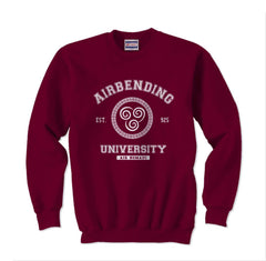 Airbending University White Ink print Avatar Air bender Unisex Crewneck Sweatshirt - Meh. Geek