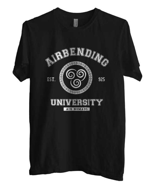 Airbending University White ink print Avatar Air Bender Men T-shirt