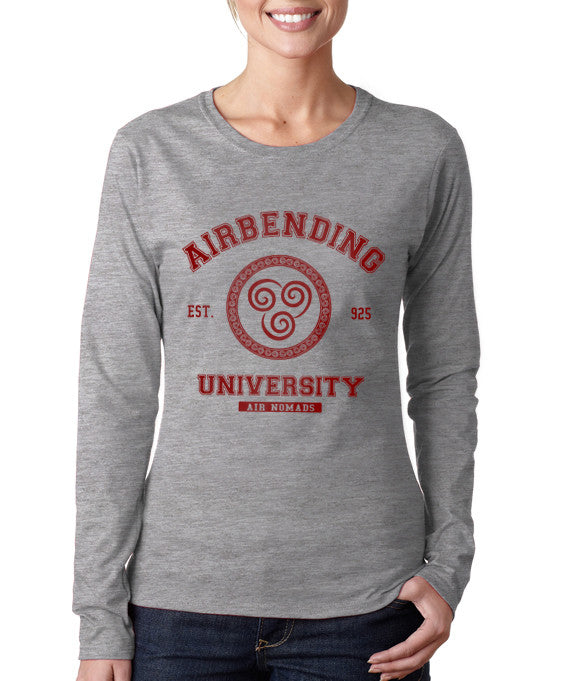 Airbending University Maroon Ink print Avatar Air bender Long sleeve T-shirt for Women - Meh. Geek