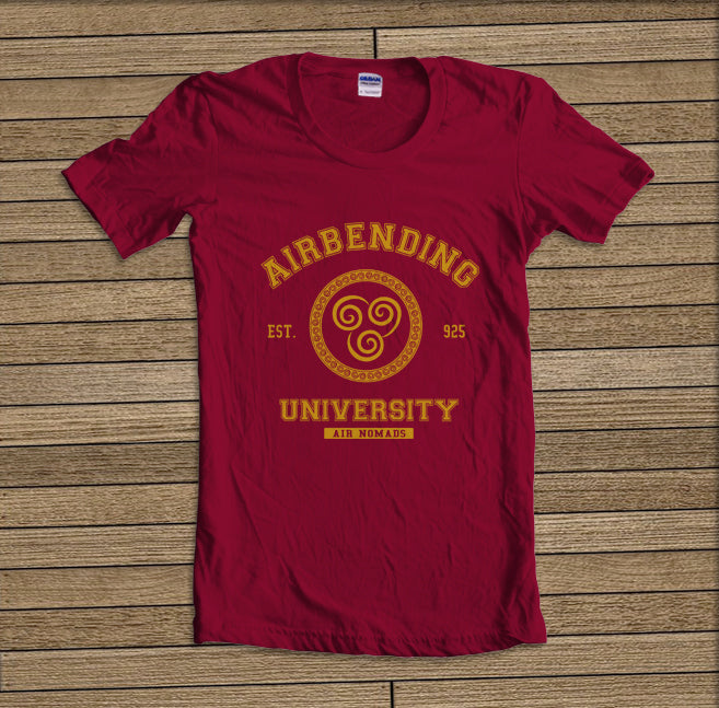 Airbending University Yellow ink print Avatar Air Bender Unisex Women T-shirt - Meh. Geek