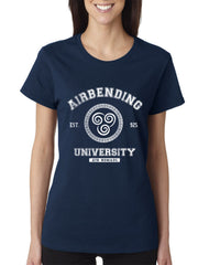 Airbending University White ink print Avatar Air Bender Unisex Women T-shirt - Meh. Geek