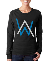 Alan Walker BLUE Ink On Front Long sleeve T-shirt for Women