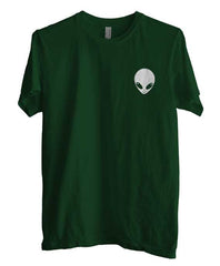 Alien Head White ink printed on pocket size Men T-shirt - Meh. Geek