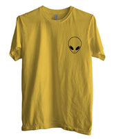 Alien Head White ink printed on pocket size Men T-shirt