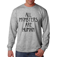 All Monsters Are Human NEW Long Sleeve T-shirt for Men - Meh. Geek - 3