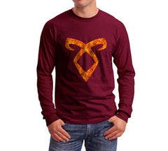Angelic Power Runes FIRE Long Sleeve T-shirt for Men - Meh. Geek - 4
