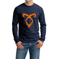 Angelic Power Runes FIRE Long Sleeve T-shirt for Men - Meh. Geek - 1