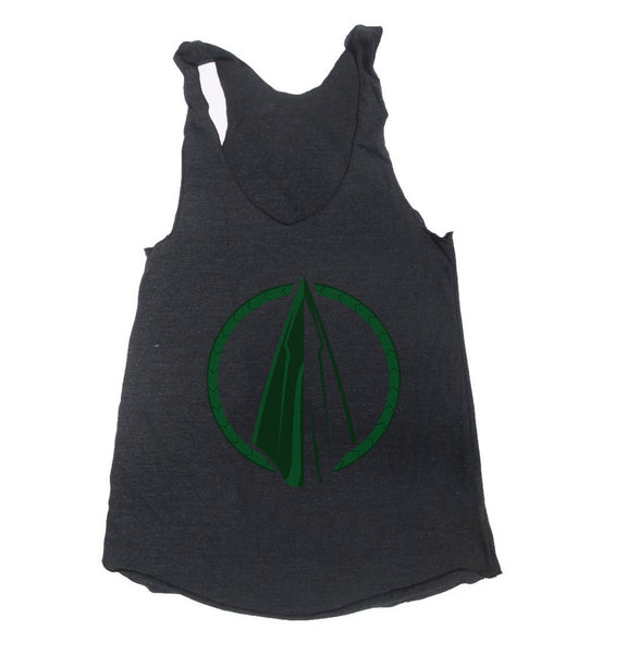 Green Arrows Symbol Triblend Racerback Women Tank Top