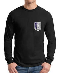 Attack on Titan Blue Ink On Front POCKET Singeki no Kyojin Long Sleeve T-shirt for Men - Meh. Geek - 2