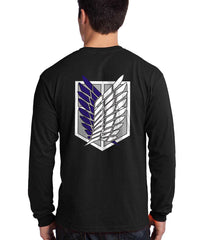 Attack on Titan Blue Ink On BACK And FRONT Pocket Singeki no Kyojin Long Sleeve T-shirt for Men Black