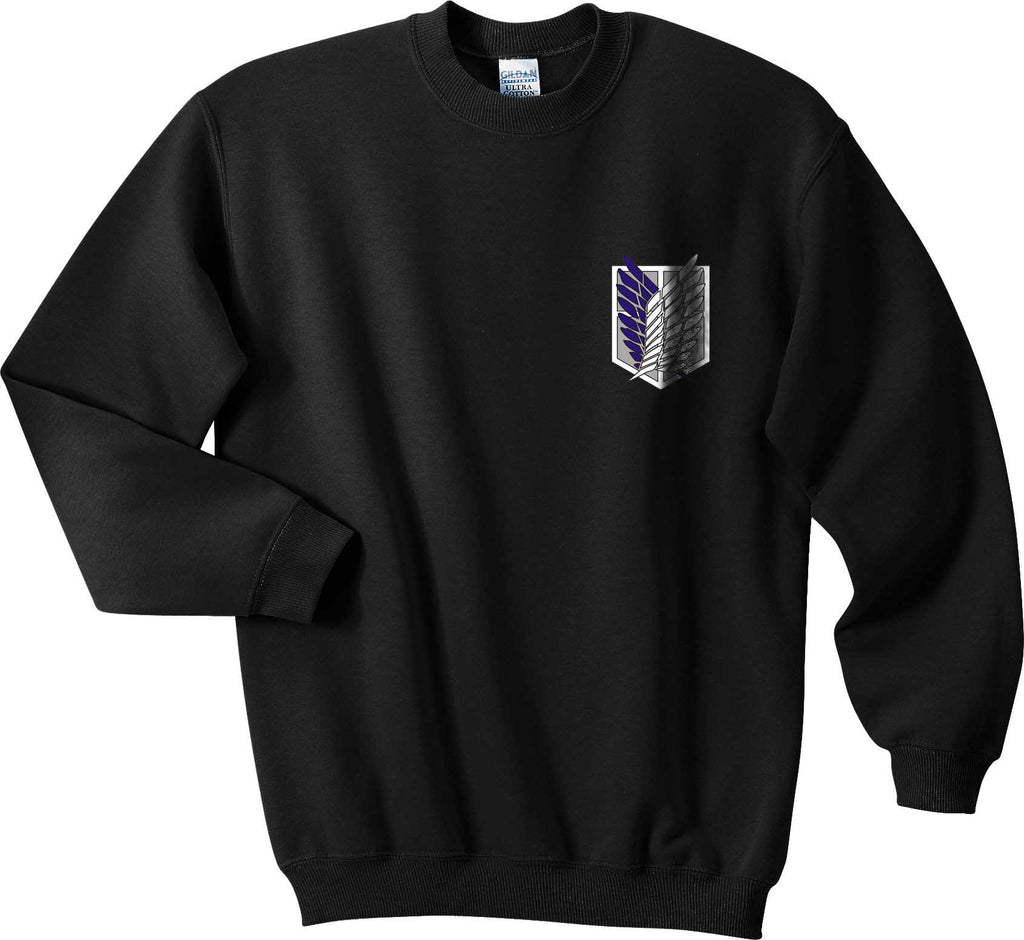 Attack on Titan Blue Ink POCKET On Front Singeki no Kyojin Unisex Crewneck Sweatshirt - Meh. Geek