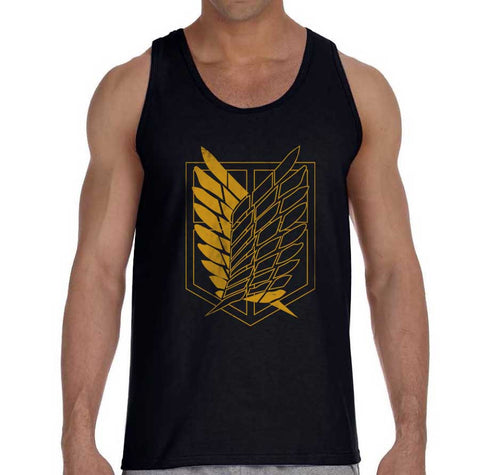 Attack on Titan Yellow Ink on Front Singeki no Kyojin Men Tank Top - Meh. Geek