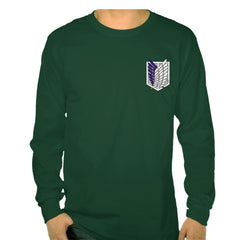 Attack on Titan Blue Ink On Front POCKET Singeki no Kyojin Long Sleeve T-shirt for Men - Meh. Geek - 1