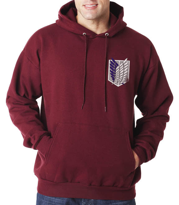 Attack on Titan Blue Ink On Front POCKET Singeki no Kyojin Unisex Pullover Hoodie - Meh. Geek