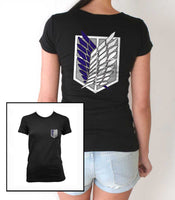 Attack on Titan Blue Ink POCKET And BACK Singeki no Kyojin Women T-shirt Black
