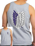 Attack on Titan Blue Ink Front And Back Singeki no Kyojin Men Tank Top - Meh. Geek - 1