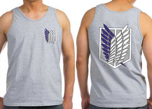 Attack on Titan Blue Ink Front And Back Singeki no Kyojin Men Tank Top
