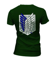 Attack on Titan Blue Ink POCKET And BACK Singeki no Kyojin Women T-shirt Forest Green - Meh. Geek - 3