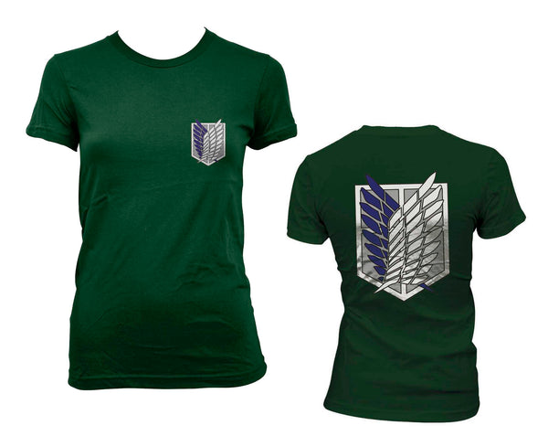 Attack on Titan Blue Ink POCKET And BACK Singeki no Kyojin Women T-shirt Forest Green