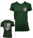 Attack on Titan Blue Ink POCKET And BACK Singeki no Kyojin Women T-shirt Forest Green - Meh. Geek - 1