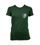 Attack on Titan Blue Ink POCKET And BACK Singeki no Kyojin Women T-shirt Forest Green - Meh. Geek - 2