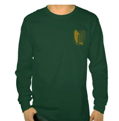 Attack on Titan YELLOW Ink On BACK And FRONT POCKET Singeki no Kyojin Long Sleeve T-shirt for Men Black - Meh. Geek - 3