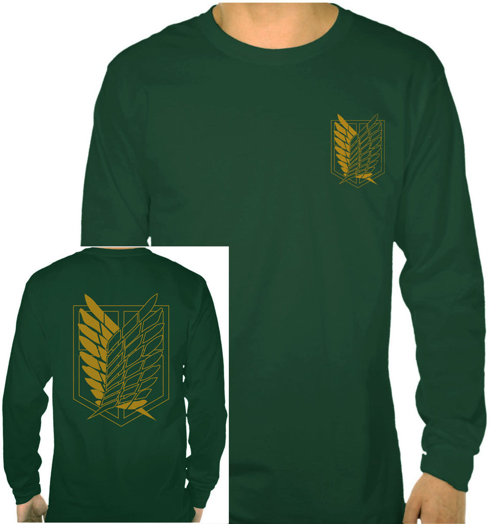 Attack on Titan YELLOW Ink On BACK And FRONT POCKET Singeki no Kyojin Long Sleeve T-shirt for Men Black - Meh. Geek - 1