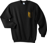 Attack on Titan YELLOW Ink On BACK And POCKET On Front Singeki no Kyojin Unisex Crewneck Sweatshirt - Meh. Geek - 3