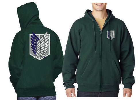 Attack on titan Blue Survey Corps Front and back Unisex Zip Up Hoodie PA