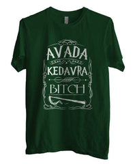 Avada Kedavra Bitch Magic Spell Muggles Wizard White Ink Unisex Men T-shirt - Meh. Geek - 1