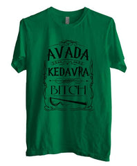 Avada Kedavra Bitch Magic Spell Muggles Wizard Black Ink Unisex Men T-shirt - Meh. Geek - 2