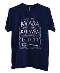 Avada Kedavra Bitch Magic Spell Muggles Wizard White Ink Unisex Men T-shirt - Meh. Geek - 4